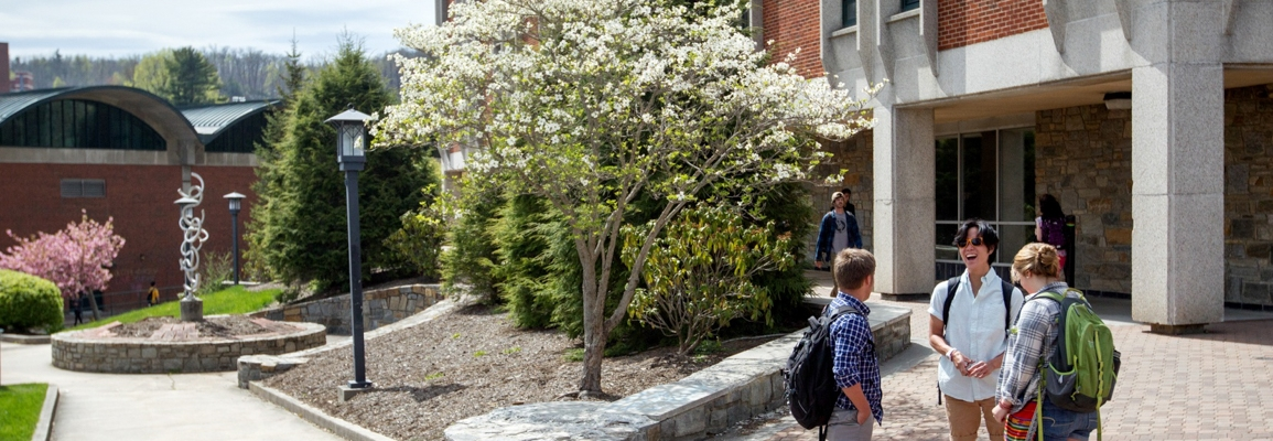 students outside Anne Belk Hall in spring