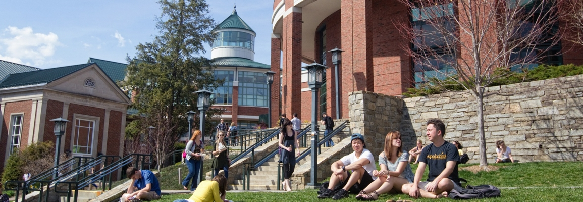 Students on a sunny Sanford Mall